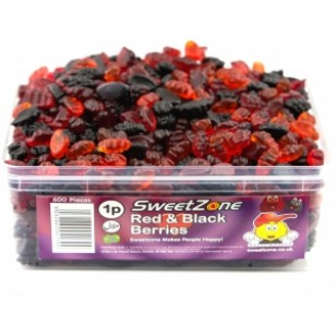 Sweetzone Halal Jelly Sweets - Red And Black Berries Tub Of 600pcs