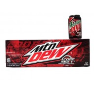 Mtn Dew Code Red American Import Soda Rare - 24 Pack (24x 355ml Cans