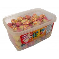 Alma Spinning Tops Strawberry Cream Flavour Candy With Candy Topping Tub Of 132 Pcs