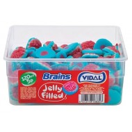 JELLY FILLED BRAINS FRUI FLAVOUR SQUIDGY BRAINS WITH A LIQUID CENTRE tub 120