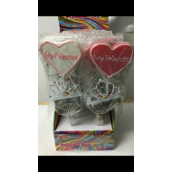 Large Princess Pop Heart Shaped Candy Lolly Parties, Stocking Fillers 12 Pieces Full Box