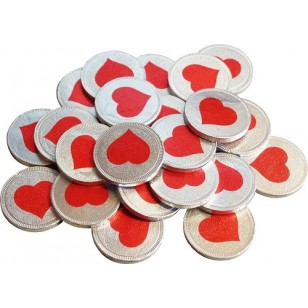 Milk Chocolate Coin Red Heart Wedding Party Favour Valentines Gift 100 Pcs