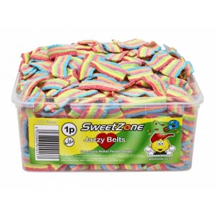 Sweetzone Halal JAZZY BELTS RETRO JELLY CANDY SWEETS Tub of 600pcs