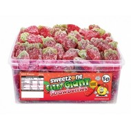 Sweetzone Halal Jelly Sweets - Fizzy Giant Strawberries Tub Of 120pcs