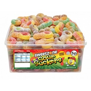 Sweetzone 100% Halal Jelly Sweets - Sour Suckers Tub Of 120pcs