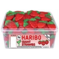 Haribo Giant Strawbs / Strawberries - 120 Pack  suitable for Vegetarians