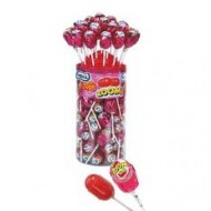 Strawberry Flavour Bubble Gum Filled Lollipops - 50 Pack
