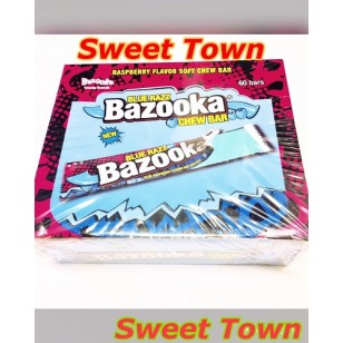 BAZOOKA  BLUE RAZZ RASPERRY FLAVOR SOFT CHEW 60 BAR