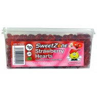 Sweetzone 100% Halal Jelly Sweets - Strawberry Hearts Tub Of 600pcs