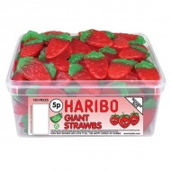 HARIBO GIANT STRAWBS / STRAWBERRIES 120 PACK SUITABLE FOR VEGETARIANS