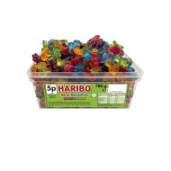 Haribo Bear Buddies Fruit flavour gums. Sweet and Sour 120 pieces in a tub,