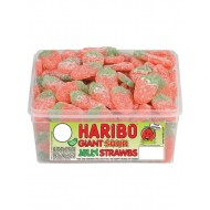 HARIBO GIANT SOUR STRAWBS: 120 PIECE TUB