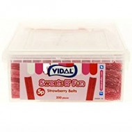 Vidal Sour Strawberry Belts Sweets Tub 200's (1 Tub)